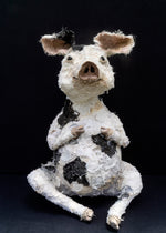 Pig textile sculpture by Susan Bowers created from vintage and antique textiles