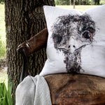 Hilda the Emu Linen Cushion - COVER ONLY