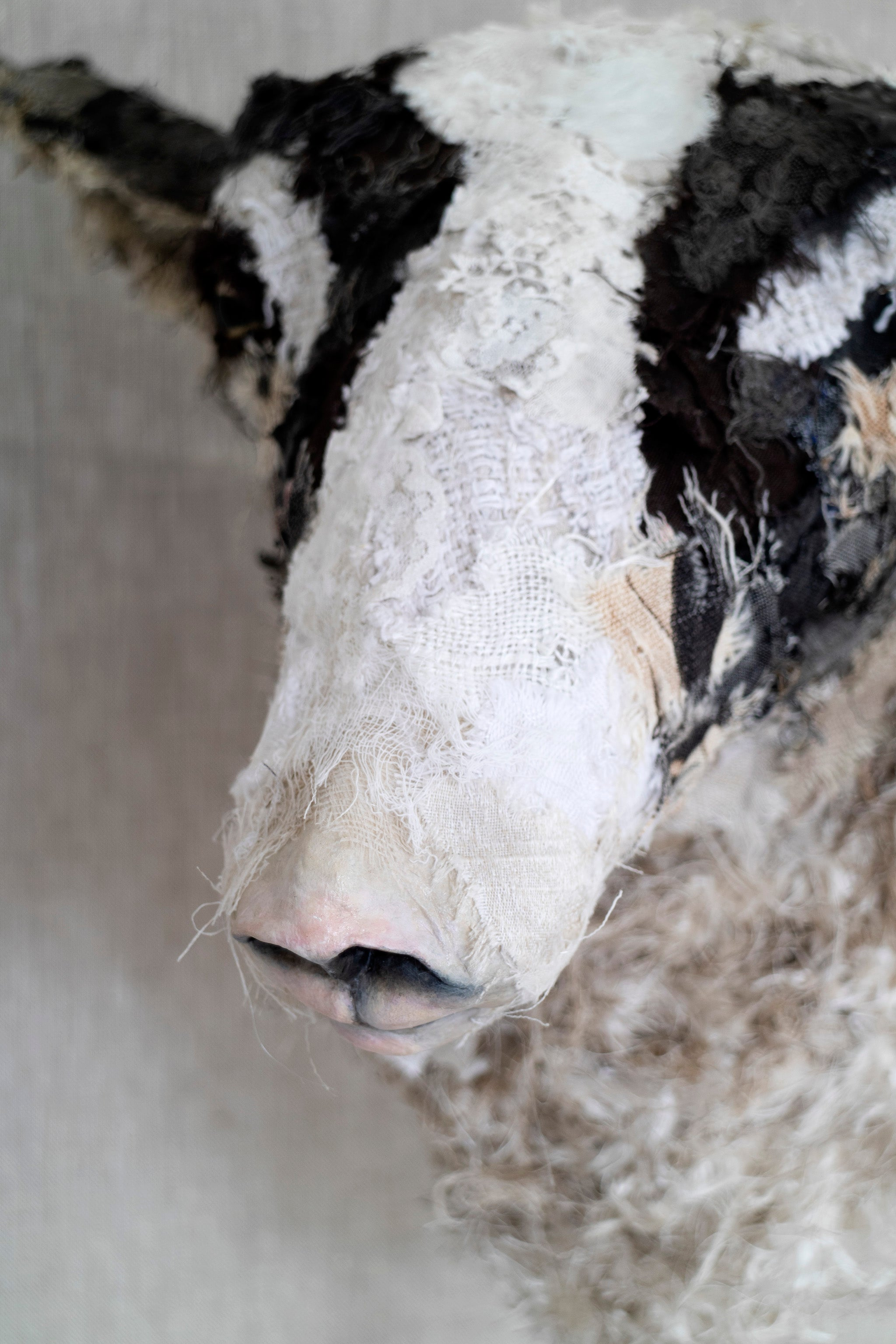 Sheep textile sculpture by Susan Bowers created from vintage and antique textiles