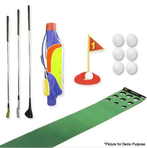 CT Sports Portable Indoor Junior Golf Trainer Set with Steel Shaft Clubs, Pro Golf Bag and Putting Matt with 9 Holes