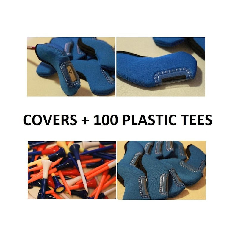 BLUE GOLF IRON HEAD COVERS COVER x 10 + 100 x RUBBER PLASTIC TEES