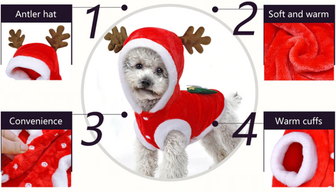 Christmas Reindeer Costume For Pets - Christmas Cloth For Small Dogs & Cats