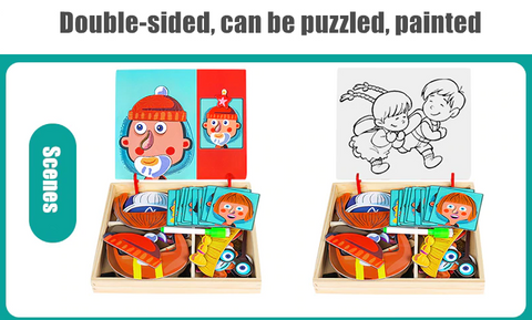 3D Matching Wooden Magnetic Puzzle Toy Box - Kids Educational Toys