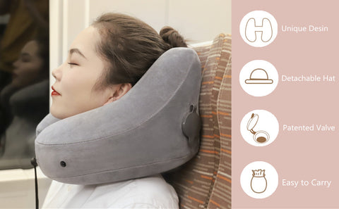 H-Shape Inflatable Travel Pillow - Neck & Chin Support Air Cushion Nap Neck Pillow