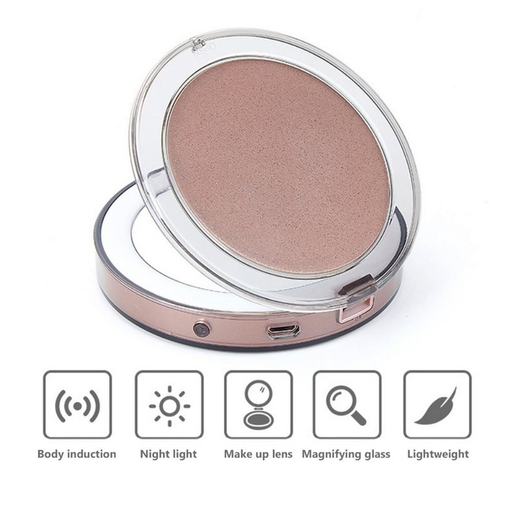 10 Lights LED Mini Makeup Mirror 1X 3X Magnify Portable Micro USB Rechargeable