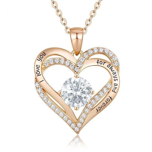 12 Birthstone Double Heart Pendant Necklace Sterling Silver Women Gift Jewelry - April - Necklaces
