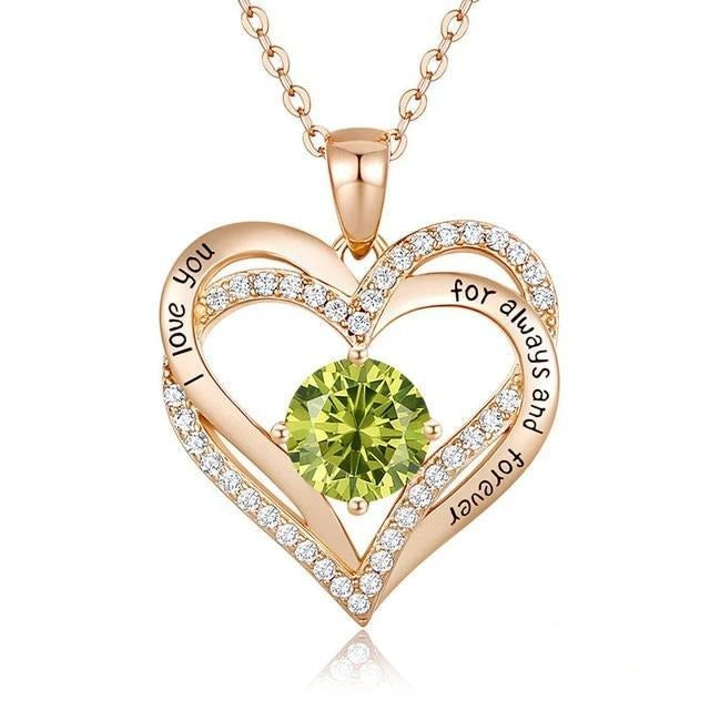 12 Birthstone Double Heart Pendant Necklace Sterling Silver Women Gift Jewelry - August - Necklaces