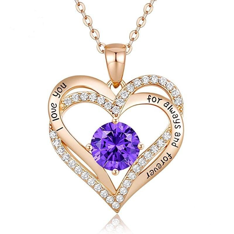 12 Birthstone Double Heart Pendant Necklace Sterling Silver Women Gift Jewelry - December - Necklaces