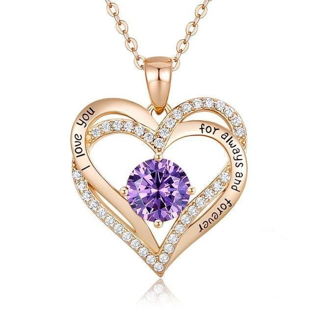 12 Birthstone Double Heart Pendant Necklace Sterling Silver Women Gift Jewelry - February - Necklaces