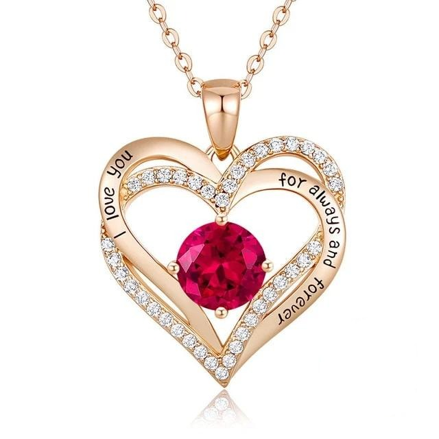 12 Birthstone Double Heart Pendant Necklace Sterling Silver Women Gift Jewelry - January - Necklaces