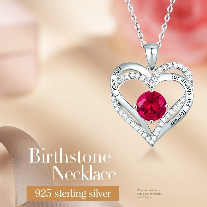 12 Birthstone Double Heart Pendant Necklace Sterling Silver Women Gift Jewelry - Necklaces