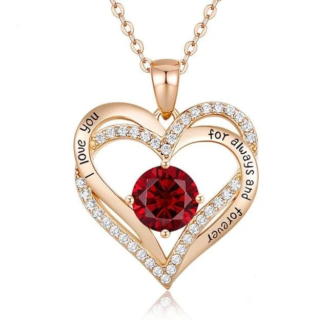 12 Birthstone Double Heart Pendant Necklace Sterling Silver Women Gift Jewelry - July - Necklaces