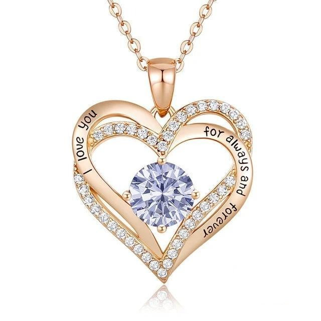 12 Birthstone Double Heart Pendant Necklace Sterling Silver Women Gift Jewelry - June - Necklaces