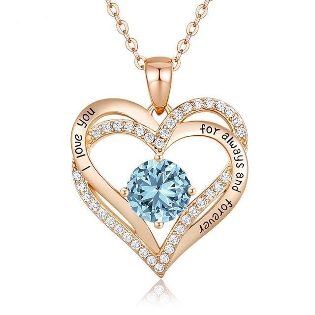 12 Birthstone Double Heart Pendant Necklace Sterling Silver Women Gift Jewelry - March - Necklaces