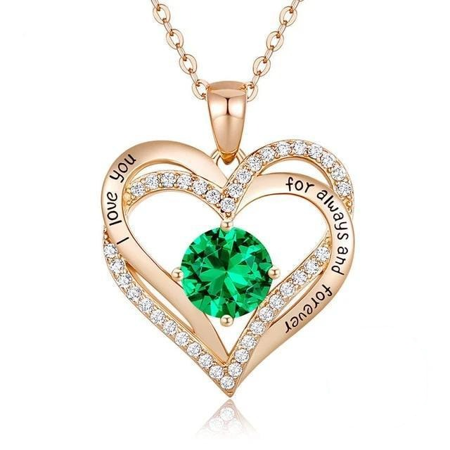 12 Birthstone Double Heart Pendant Necklace Sterling Silver Women Gift Jewelry - May - Necklaces