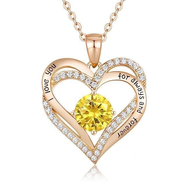 12 Birthstone Double Heart Pendant Necklace Sterling Silver Women Gift Jewelry - November - Necklaces