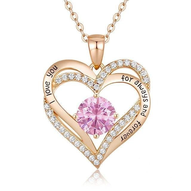 12 Birthstone Double Heart Pendant Necklace Sterling Silver Women Gift Jewelry - October - Necklaces