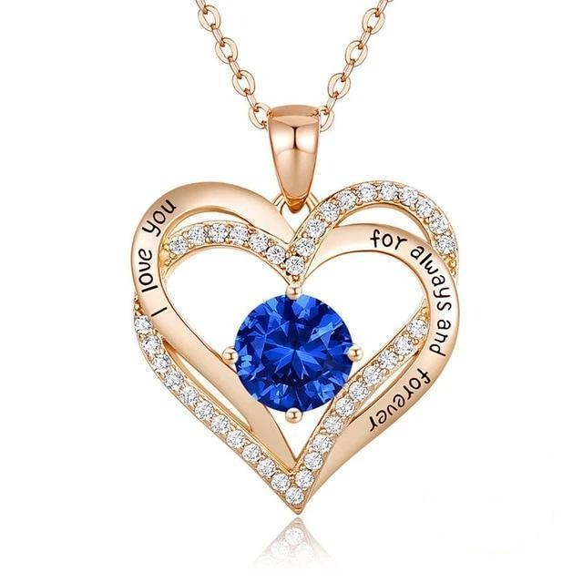 12 Birthstone Double Heart Pendant Necklace Sterling Silver Women Gift Jewelry - September - Necklaces