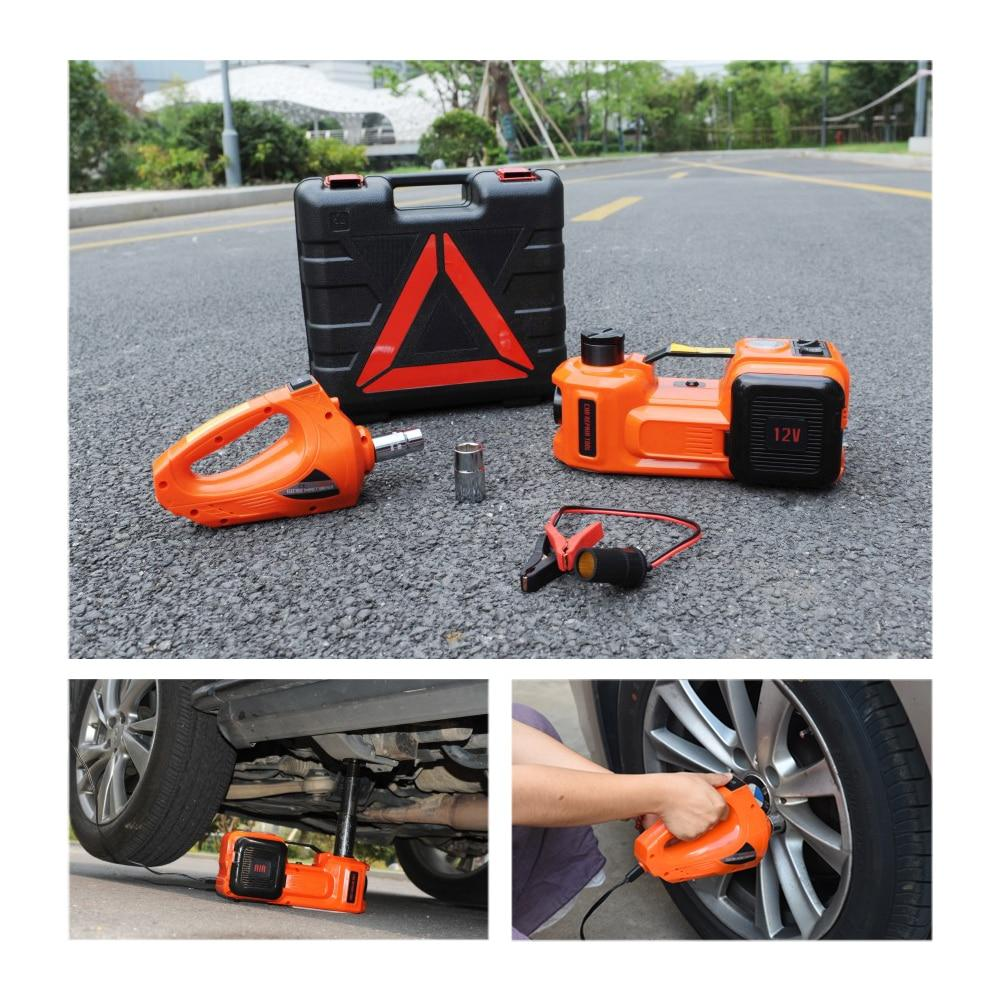 12V Electric Hydraulic Car Floor Jack With Electric Impact Wrench And Tire Inflator - 3-in-1 Car Repair Tool Kit