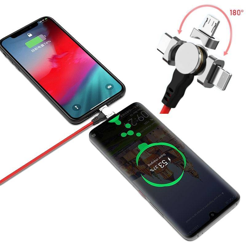 2 in 1 Magnetic Rotatable Charging Cable For iPhone XS Max XR X 8 Fast Charging Type C Micro USB