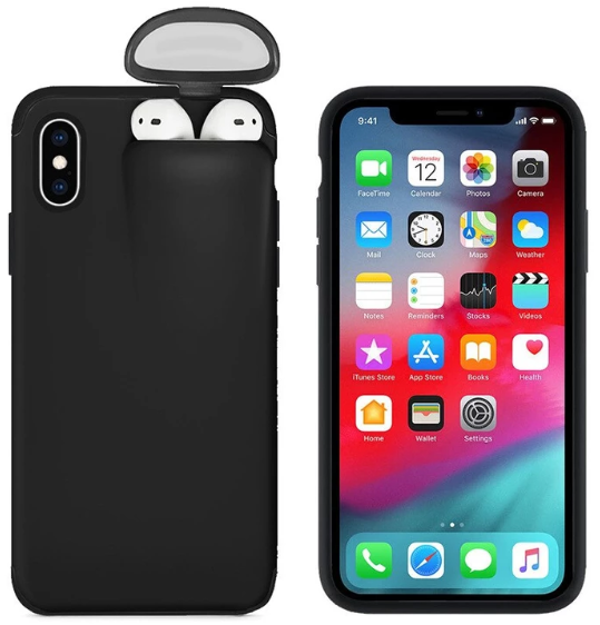 2-In-1 Silicone iPhone & Airpods Case - iPhone With Airpods Holder Case Cover - iPhone 7 Plus / Black