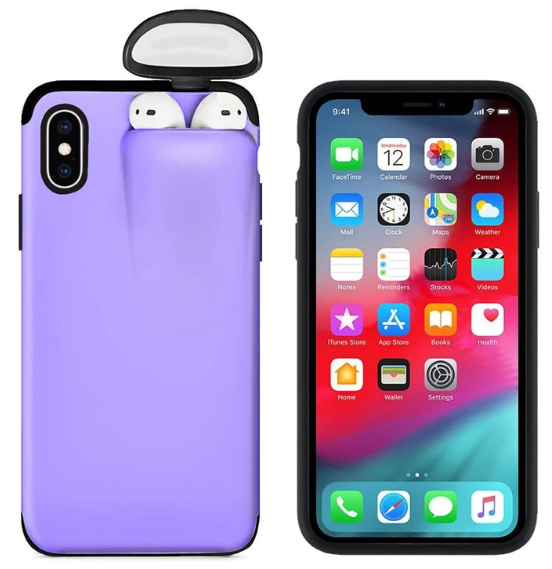 2-In-1 Silicone iPhone & Airpods Case - iPhone With Airpods Holder Case Cover - iPhone 7 Plus / Purple