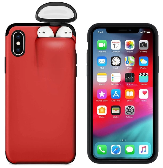 2-In-1 Silicone iPhone & Airpods Case - iPhone With Airpods Holder Case Cover - iPhone 7 Plus / Red
