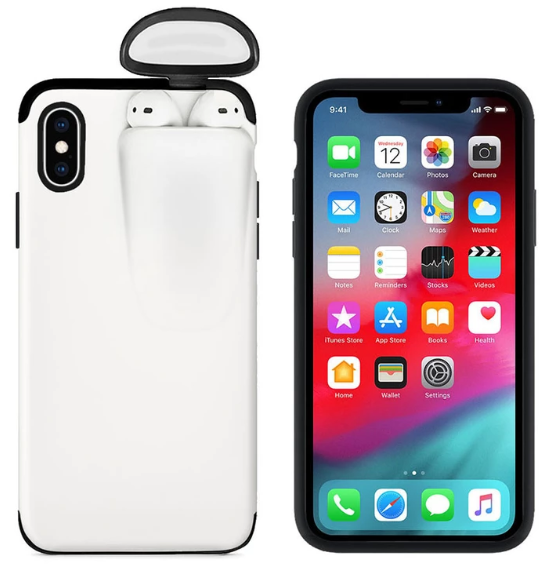2-In-1 Silicone iPhone & Airpods Case - iPhone With Airpods Holder Case Cover - iPhone 7 Plus / White