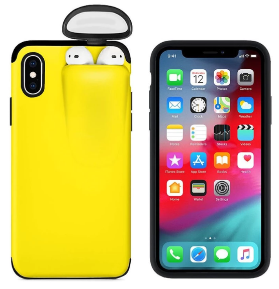 2-In-1 Silicone iPhone & Airpods Case - iPhone With Airpods Holder Case Cover - iPhone 7 Plus / Yellow