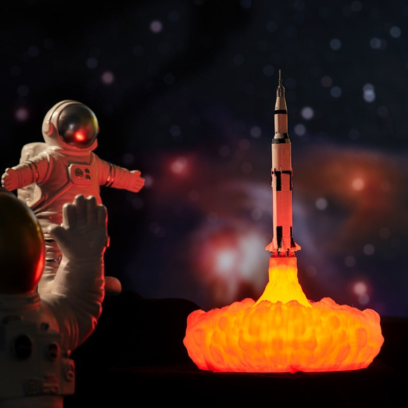 3D Printed Saturn V Rocket Night Light - Rechargeable Moon Lamp