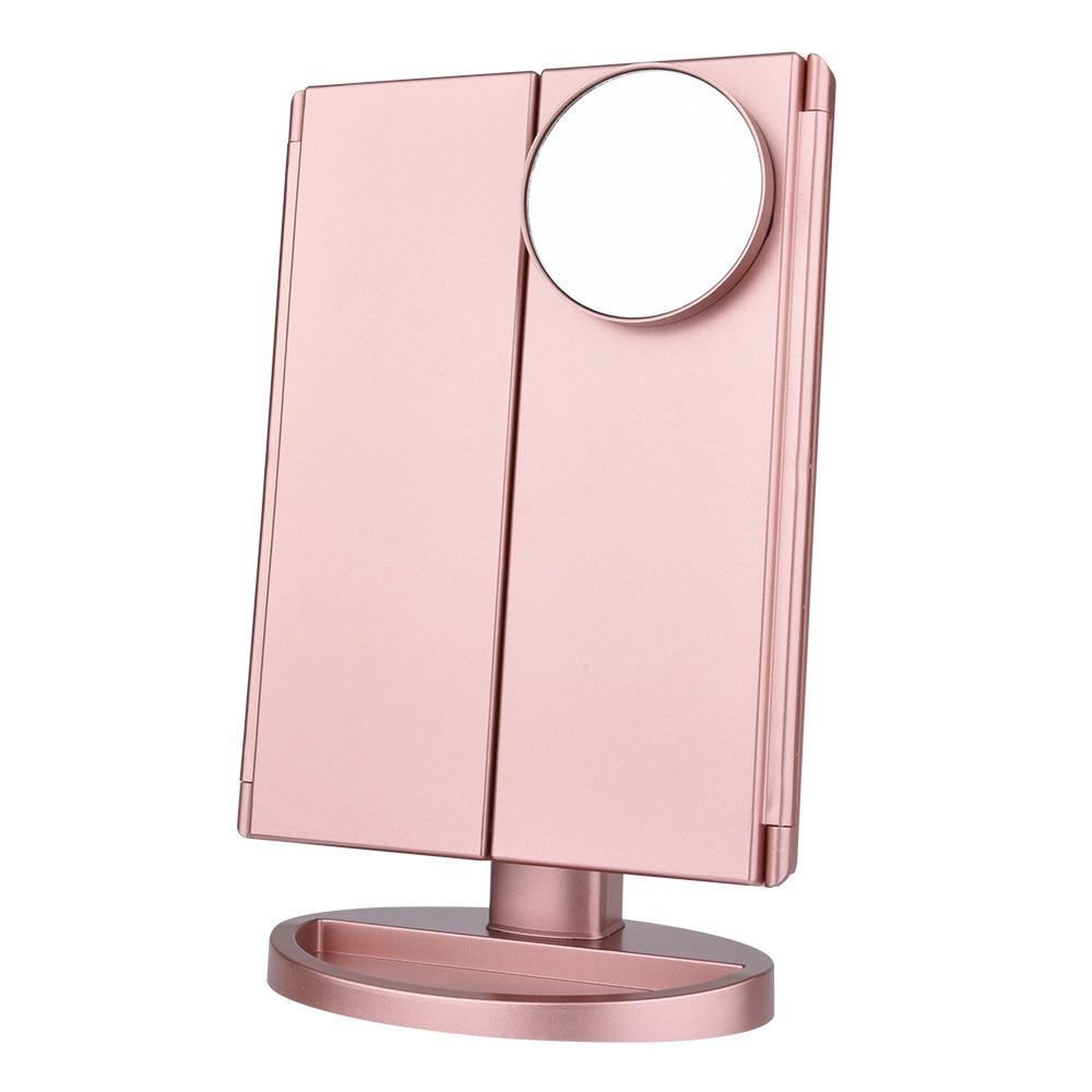 22 Led Light Touch Screen Tri-Fold Vanity 1X/2X/3X/10X Magnifying Makeup Mirror