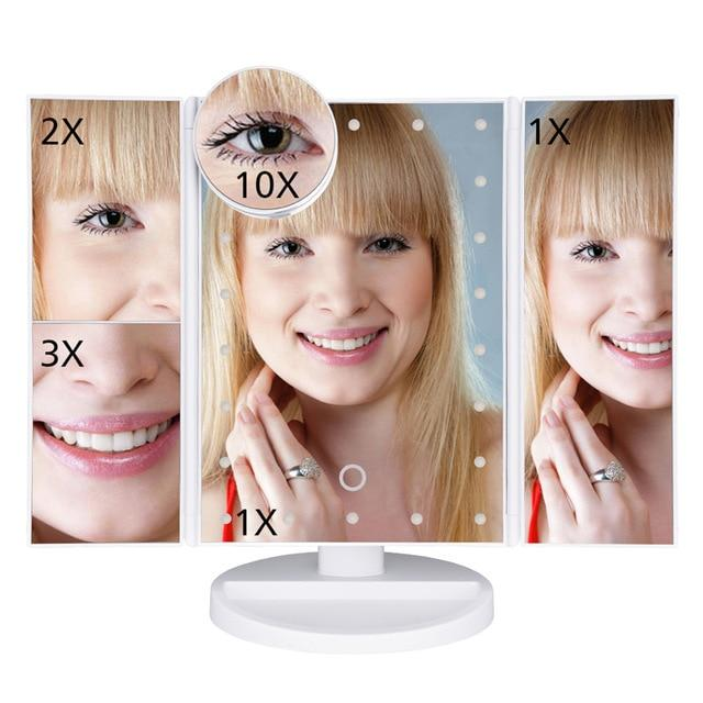 22 Led Light Touch Screen Tri-Fold Vanity 1X/2X/3X/10X Magnifying Makeup Mirror - White