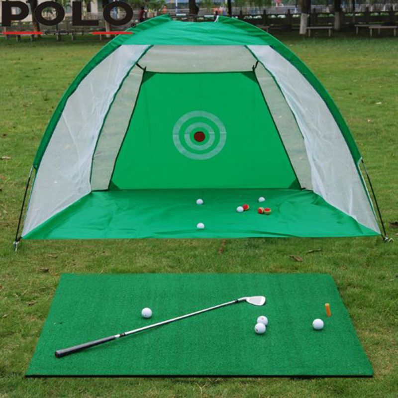 Golf Cage Swing Training Set - Hitting Practice Golf Net - Golf Training Aids