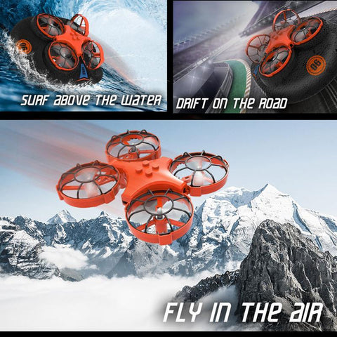 3-in-1 Flying Air Water & Land Hovercraft RC Drone RTF Quadcopter - RC Helicopters