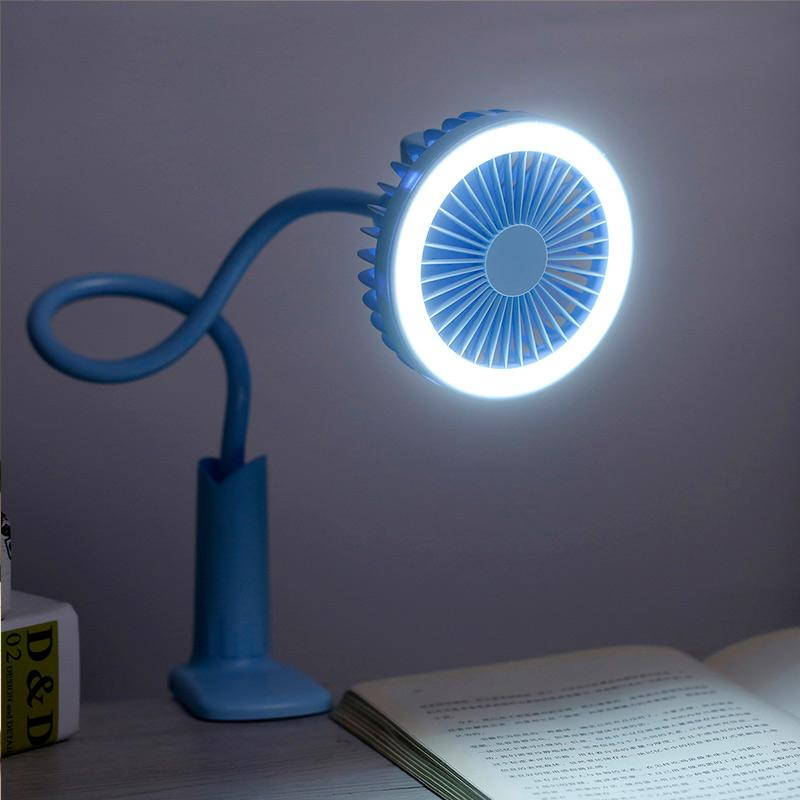 360 Rotation Flexible Portable Stroller Clip On Desk Fan With LED Light Rechargeable - Blue - Fans