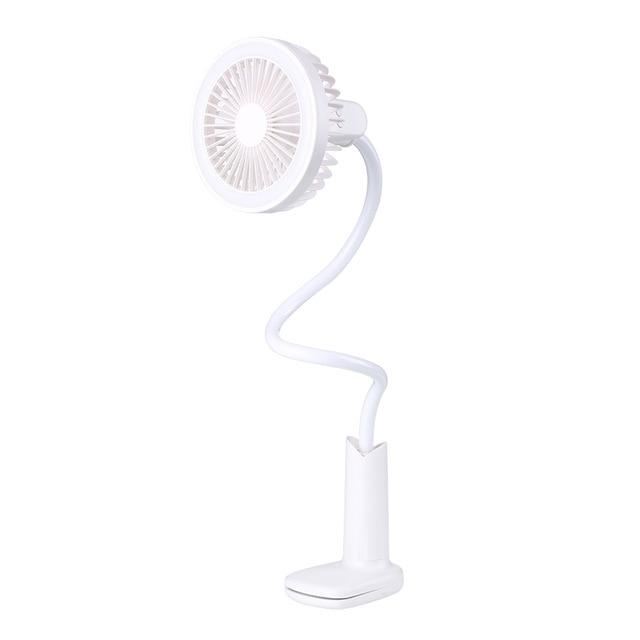360 Rotation Flexible Portable Stroller Clip On Desk Fan With LED Light Rechargeable - White - Fans