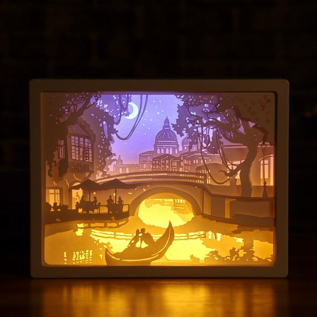 3D Paper Carving Night Light - Papercut Lightbox LED Table Lamp Home Decor - Boat - LED Night Lights