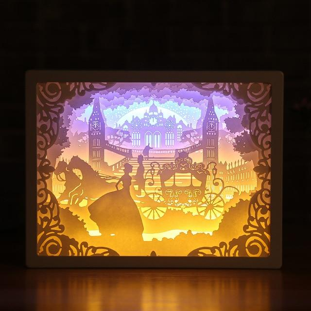 3D Paper Carving Night Light - Papercut Lightbox LED Table Lamp Home Decor - Coach - LED Night Lights