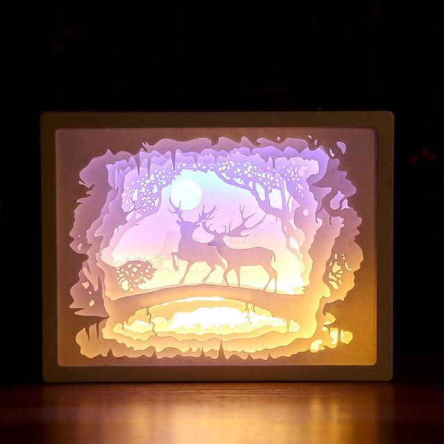 3D Paper Carving Night Light - Papercut Lightbox LED Table Lamp Home Decor - Deer - LED Night Lights