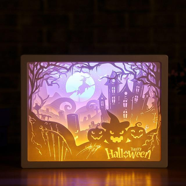 3D Paper Carving Night Light - Papercut Lightbox LED Table Lamp Home Decor - Halloween Pumpkin - LED Night Lights