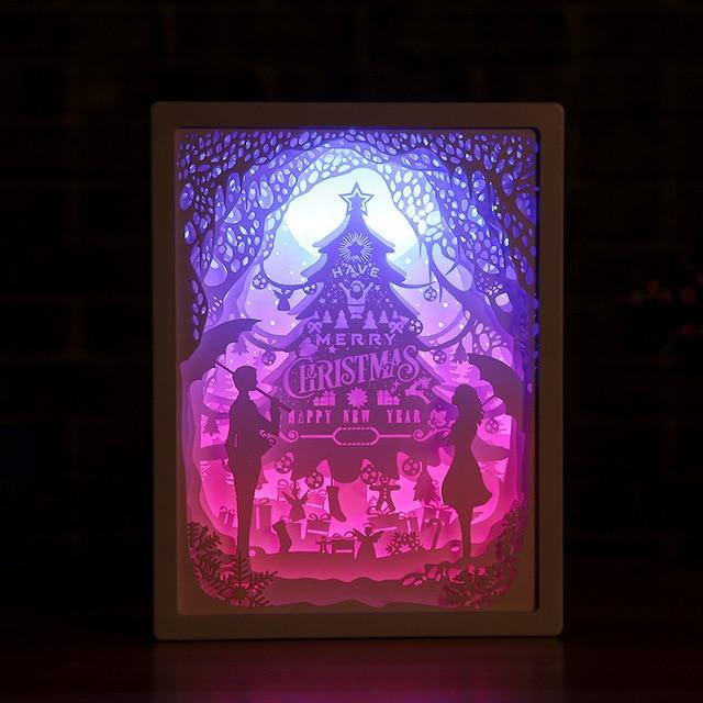 3D Paper Carving Night Light - Papercut Lightbox LED Table Lamp Home Decor - Merry Christmas - LED Night Lights