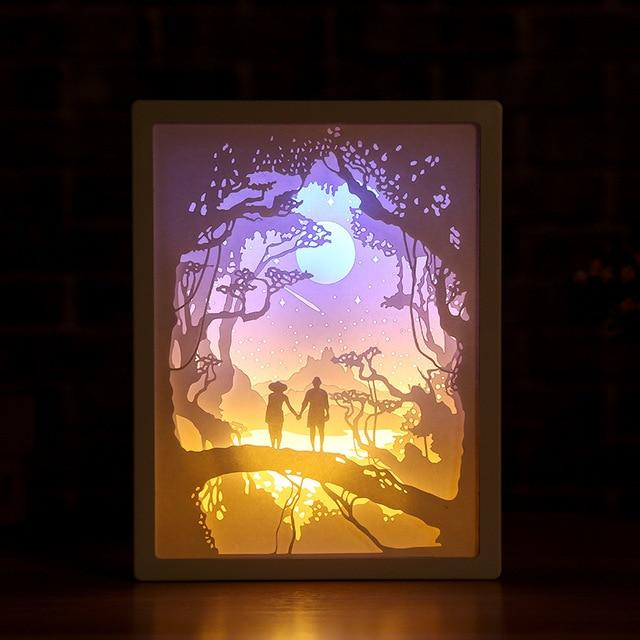 3D Paper Carving Night Light - Papercut Lightbox LED Table Lamp Home Decor - Romantic Lover - LED Night Lights