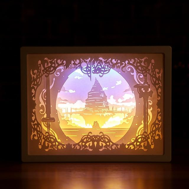 3D Paper Carving Night Light - Papercut Lightbox LED Table Lamp Home Decor - Sword - LED Night Lights