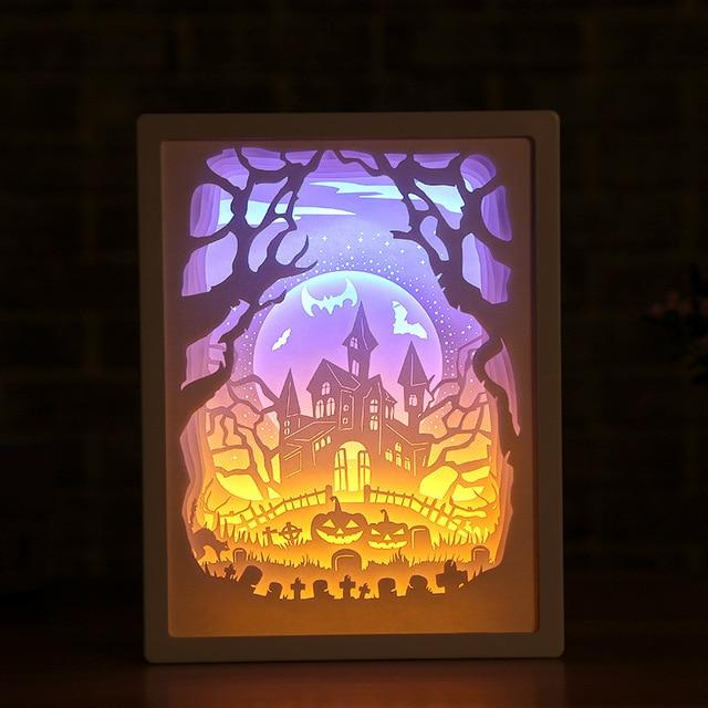 3D Paper Carving Night Light - Papercut Lightbox LED Table Lamp Home Decor - William Castle - LED Night Lights