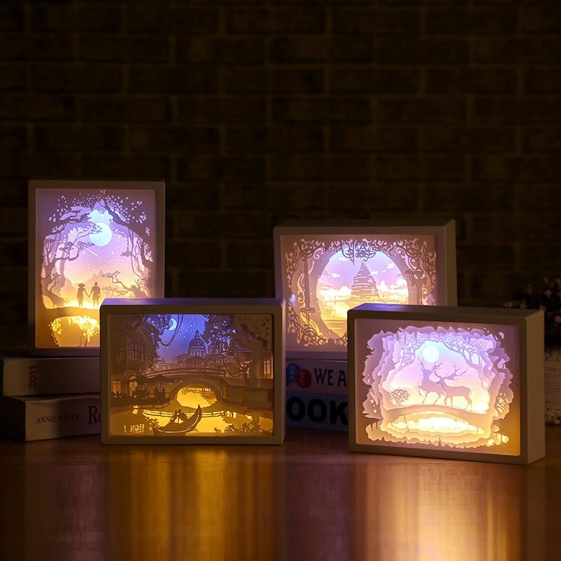 3D Paper Carving Night Light - Papercut Lightbox LED Table Lamp Home Decor - LED Night Lights