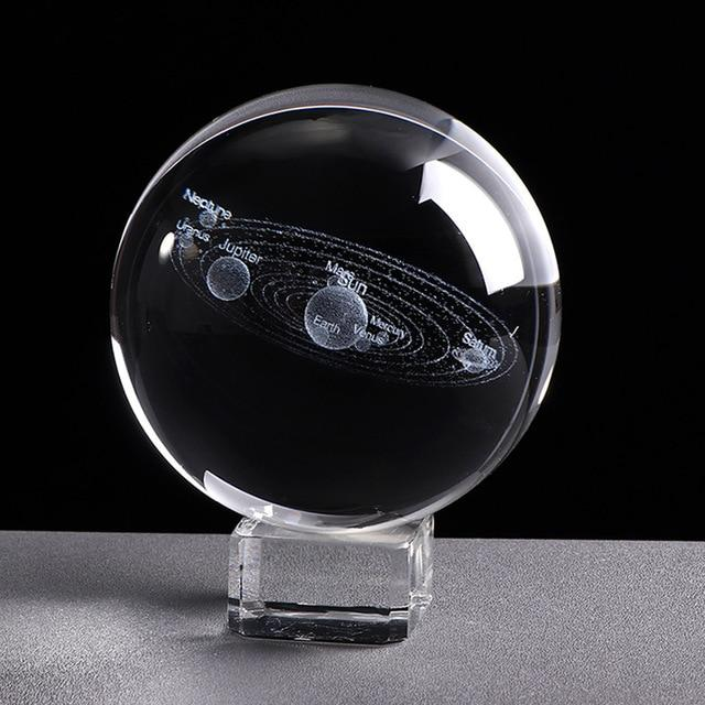 3D Solar System Miniature Model Glass Globe Crystal Ball - 6 CM / With Crystal Base