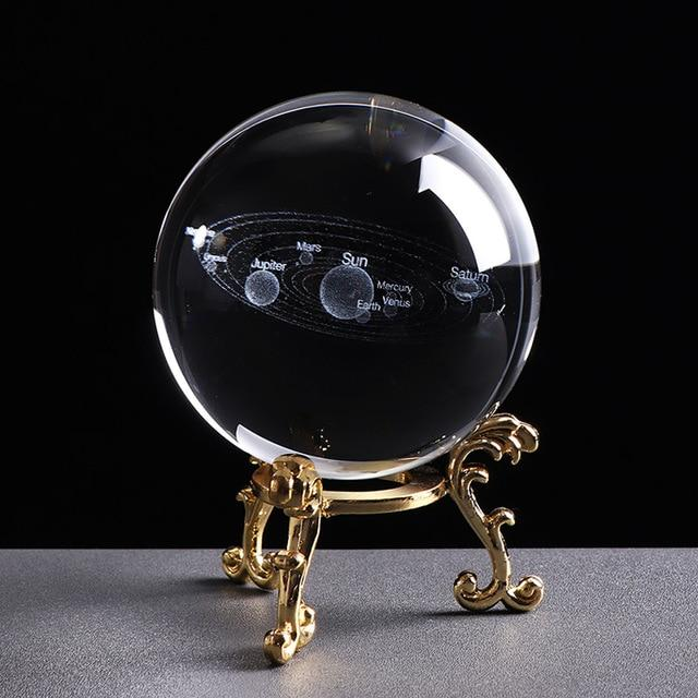 3D Solar System Miniature Model Glass Globe Crystal Ball - 6 CM / With Gold Base