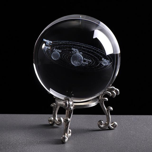 3D Solar System Miniature Model Glass Globe Crystal Ball - 6 CM / With Silver Base