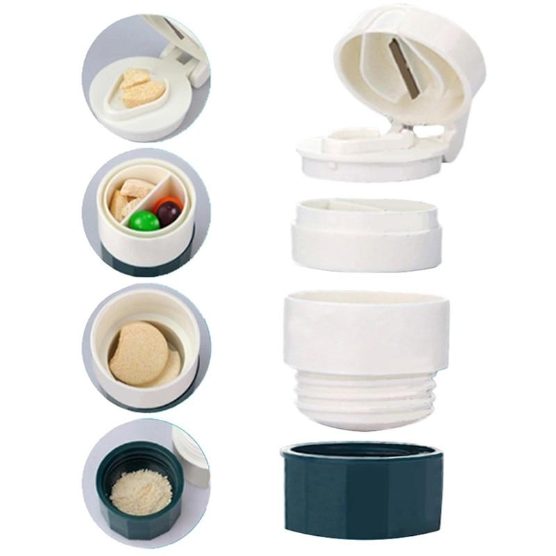 4-In-1 Easy Pill Cutter & Splitter With Medicine Crusher Grinder Storage Pill Case - Green - Pill Cases & Splitters