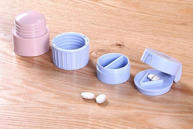 4-In-1 Easy Pill Cutter & Splitter With Medicine Crusher Grinder Storage Pill Case - Pill Cases & Splitters